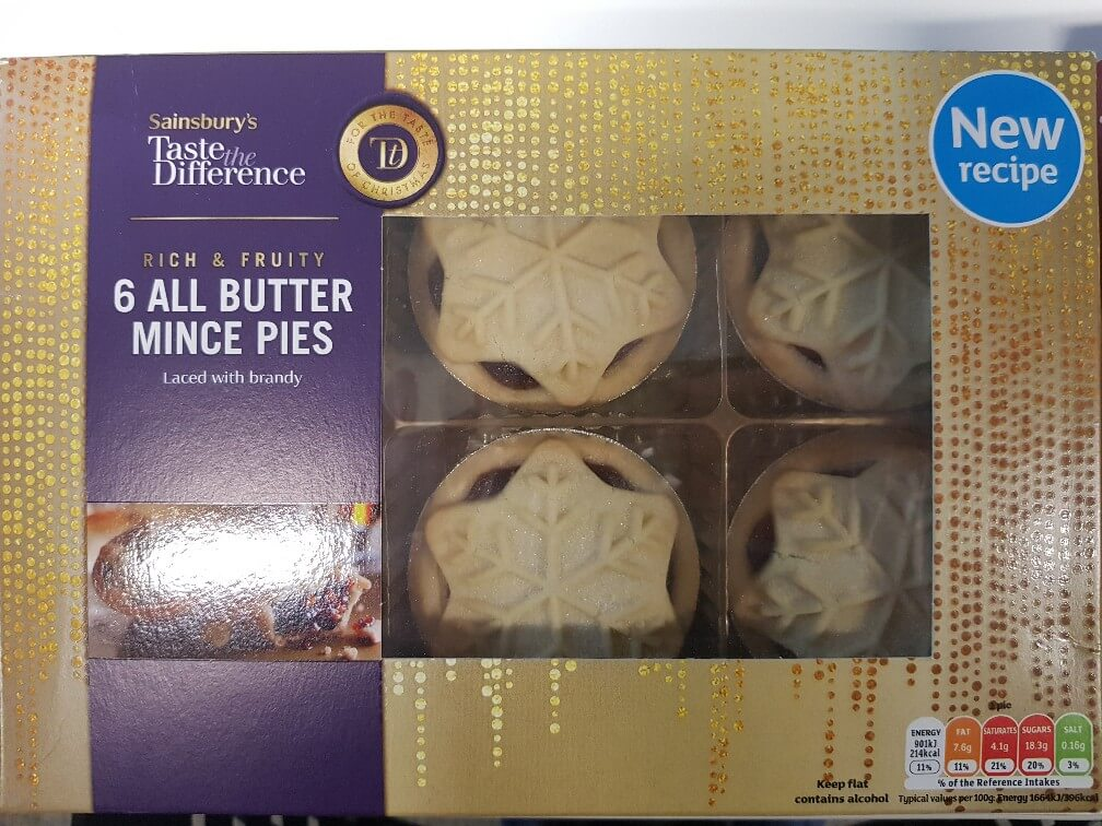 Sainsbury's Taste The Difference All Butter Mince Pie Review 2018