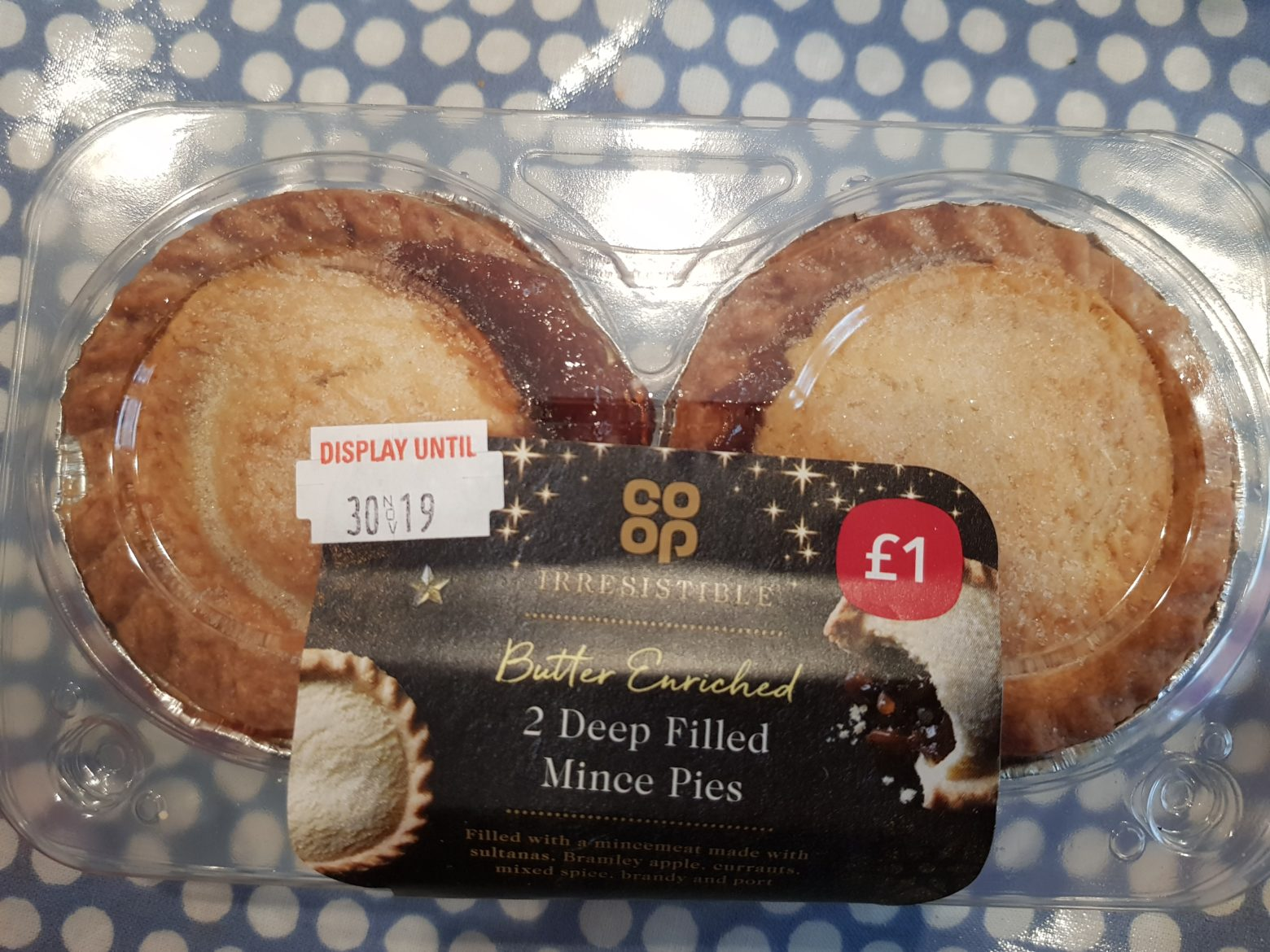 Co-op Irresistible Butter-Enriched Deep Filled Mince Pie Review 2019