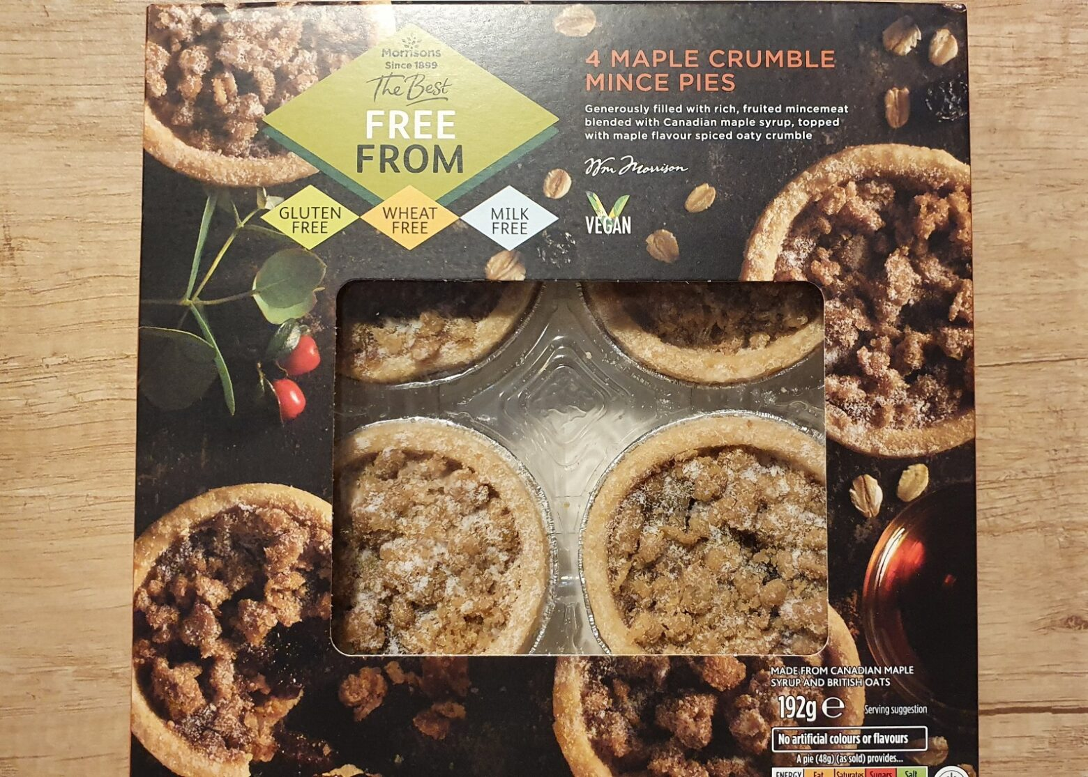 Morrisons 'The Best' Free From Maple Crumble Mince Pie Review 2020